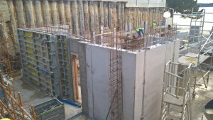 Concrete walls under construction