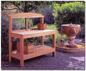 Bruce's Potting Bench is made of Western Red Cedar. On the bench top is one of his octagonal planters.