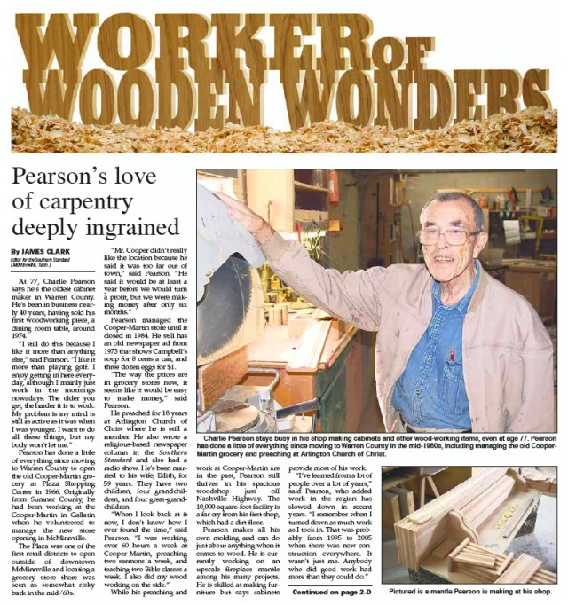 Charlie's in the news! Click the photo to read a recent story in Charlie's local newspaper, The Southern Standard, of McMinnville, TN. Courtesy Southern Standard.