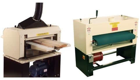 Today's Woodmasters are painted a light tan color. The Woodmaster Molder/Planer (left) can be set up as a planer, molder, drum sander or saw. The Woodmaster Drum Sander (right) is a dedicated sanding machine.