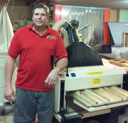 "Here's Kurt in his shop alongside his ""business partner,"" his Woodmaster Molder/Planer."