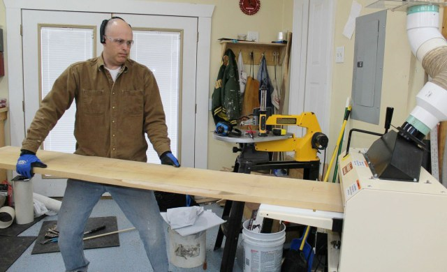 "Paul, a 14"" maple plank, and his Woodmaster. ""This is one of the first test runs I did on my Woodmaster."""
