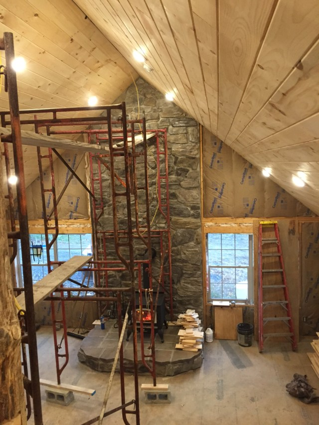 Now, this is a beautiful ceiling. The James brothers alternate narrower and wider boards to accentuate the beauty of the wood. Great job! Todd did the stonework, too.