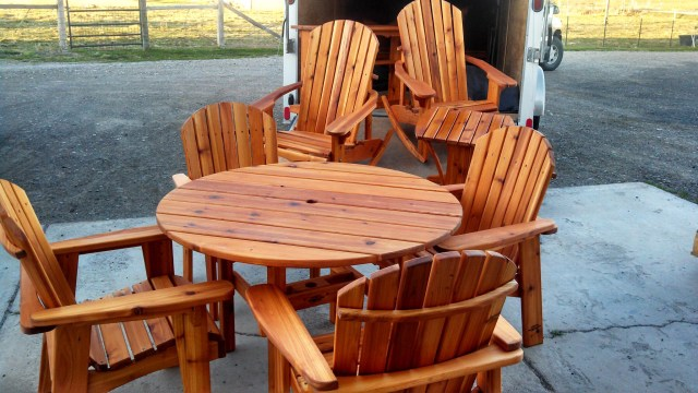 Mr. Miller makes a wide variety of furniture. Here's an outstanding set of cedar Adirondack patio furniture he made, ready for delivery.