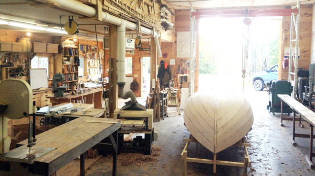 Josh's boat shop is big and airy. And his Woodmaster is right in the center of the action.