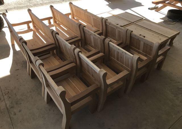 Did we mention chairs? Caleb and company make many things on order, including these handsome chairs and coffee tables