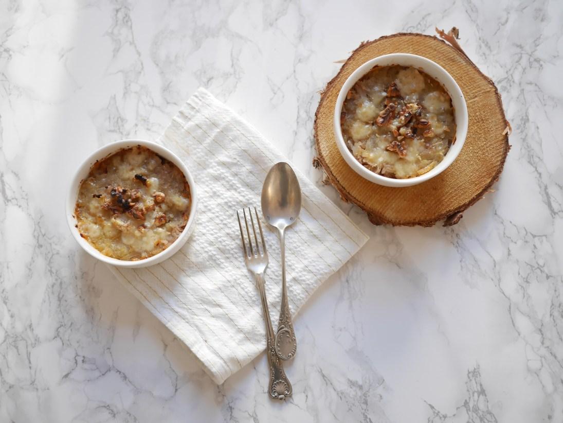 Oignons et noix gratinés au Parmesan