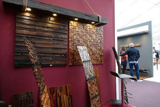 Rustic Wall Tiles Rustic Wood Decor, wall decor for restaurant, wall decor, reclaimed wall decor, rustic wall decor, decor for restaurant, wall tiles, wooden wall tiles, wood mosaic, mosaic tiles, wooden tiles, International Decorex Show, London 2017