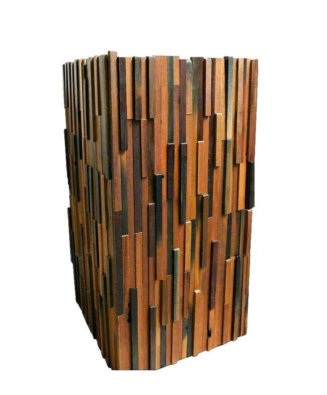 wood mosaic planter, decorative planter, wood planter, tall wood planter, wooden planter, zinc planter, metal planter, plant pot, mosaic planter, planters uk