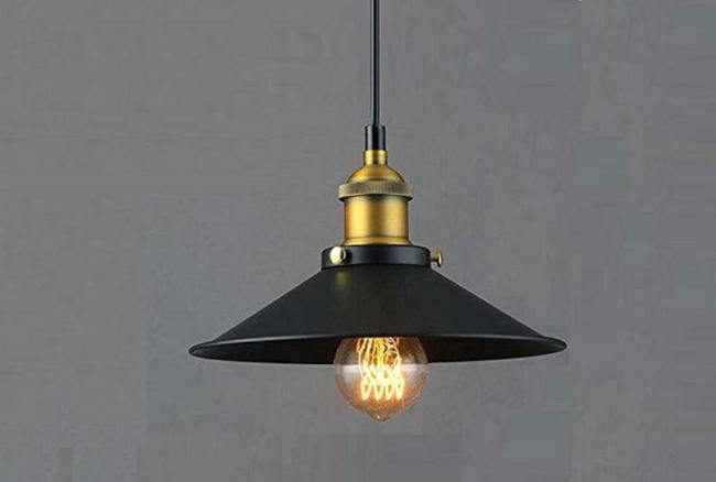 Vintage metal Light, Vintage Black Metal Pendant Light, Vintage Pendant Light
