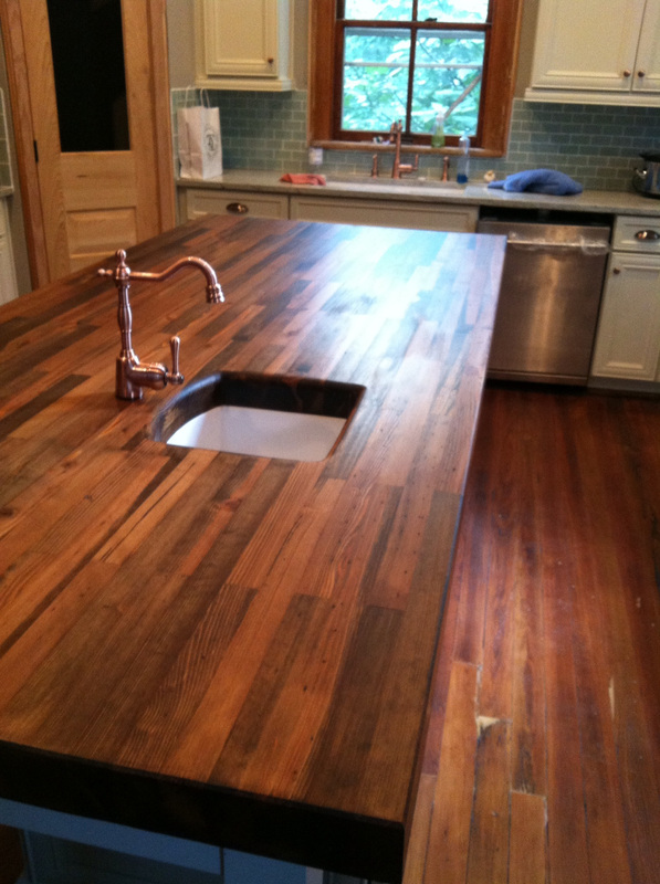 countertops kitchen glass round table heartpine countertop - woodology