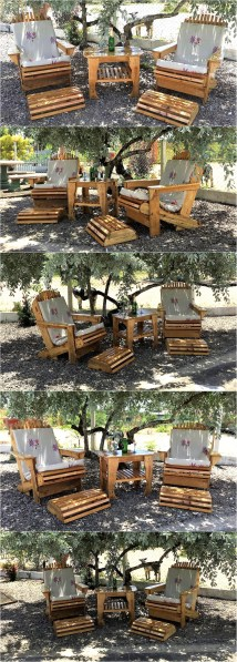 Wood Pallet Patio Chairs Set Furniture