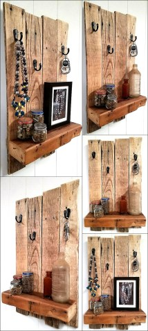 Recycled Wooden Pallet Shelf With Rustic Wood