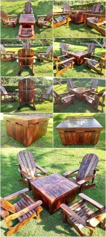 Wood Pallets Adirondack Patio Furniture Set Pallet