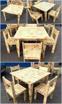 Simple Furniture Set Made with Pallets Wood | Wood Pallet ...