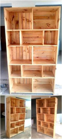 Reclaimed Pallets Wooden Shelving Cabinet Wood