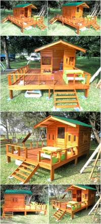 Repurposed Wood Pallets Made Kids Patio Playhouse | Wood ...