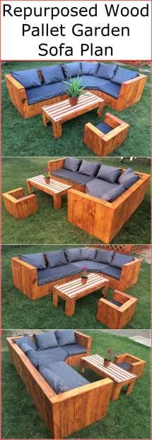 Repurposed Wood Pallet Garden Sofa Plan