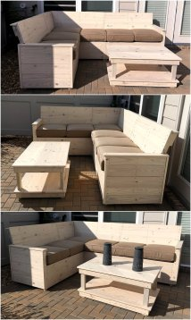 Wood Pallet L-shape Sofa Plan Furniture
