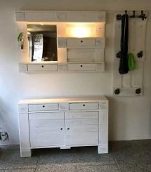 Vintage White Shabby Chic Pallets Hallway Chest Mirror