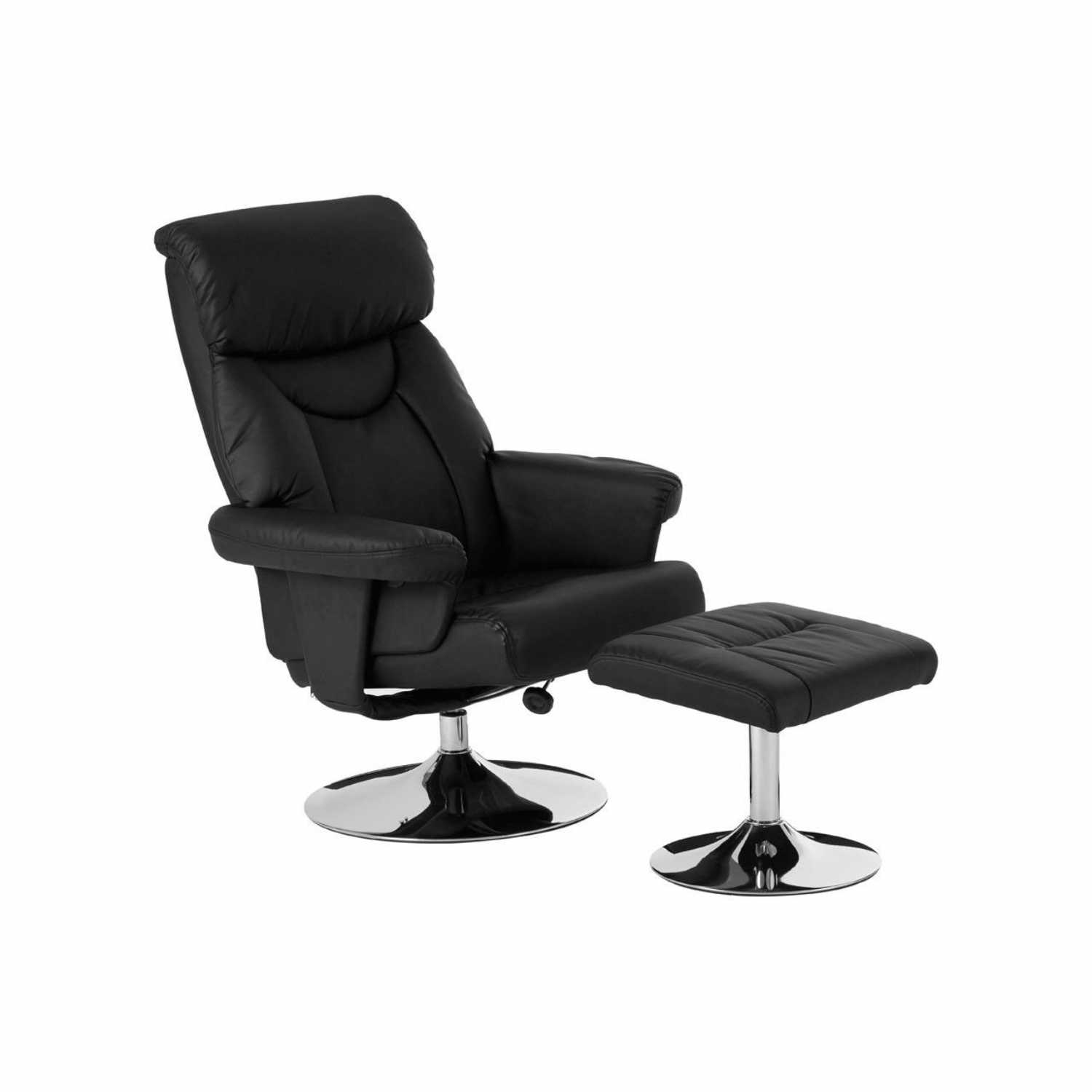 modern black leather recliner chair blue dining chairs effect chrome base