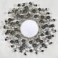 Floral Metal Framed Round Wall Mirror