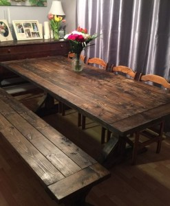 Rustic Trestle Table and Bench