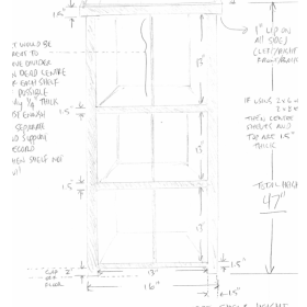 Sketch of a custom order TV stand