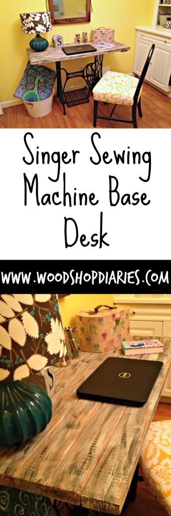 Trash Turned Treasure--Singer Sewing Machine Base Desk