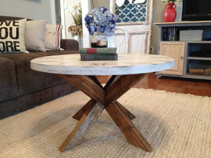 X base coffee table with round top that looks like a clock