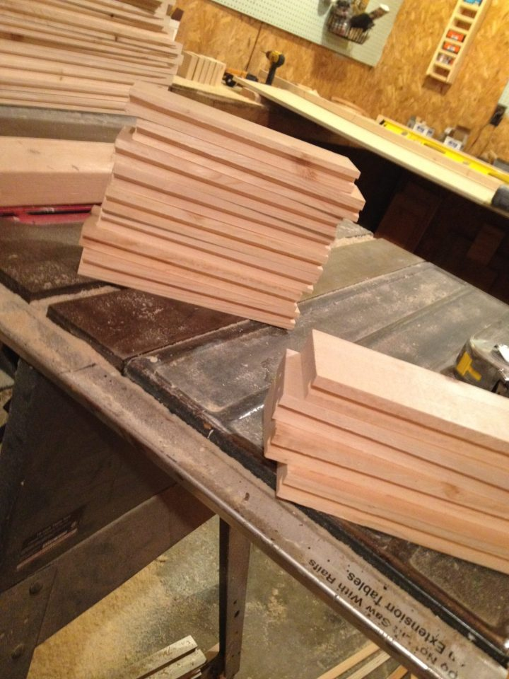 Stacks of shaker cabinet doors frames with dadoes cut for inside panels