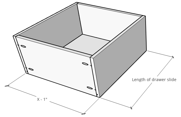 Overall dimensions of DIY Drawers--dimensions for how to build drawers