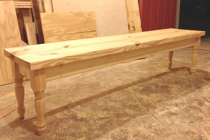Simple Dining Table Bench with turned legs unfinished pine