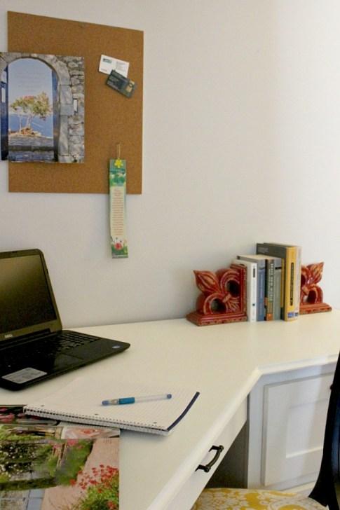 Close up view of trim along desk top edges