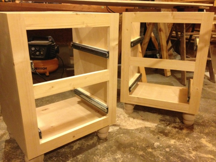 Drawer slides mounted into corner desk side cabinets