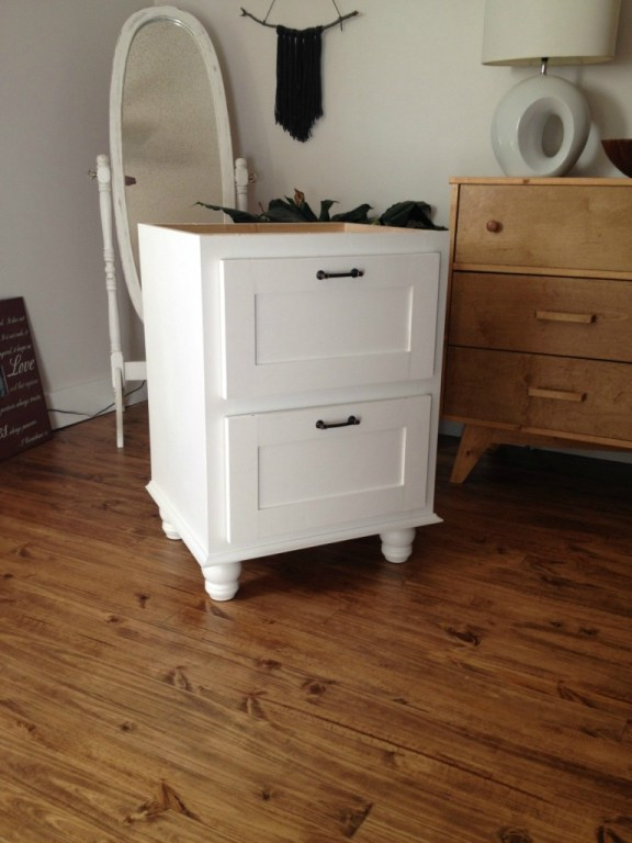 Corner desk side cabinet painted white ready for assembly