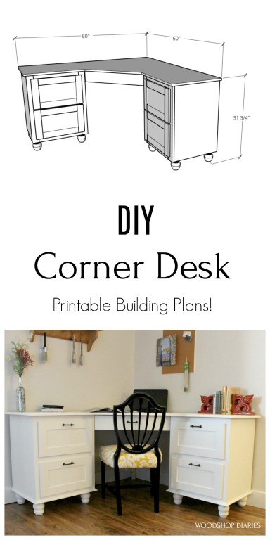 Pinterest collage with overall dimension graphic at top and finished DIY corner desk image on bottom