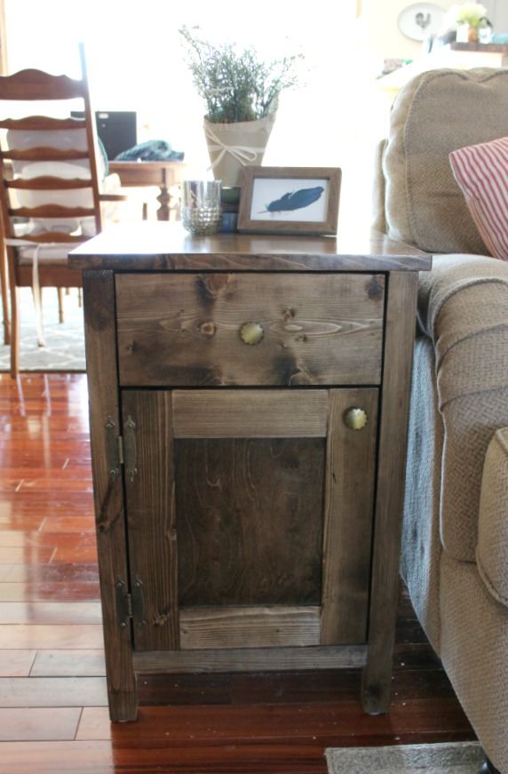 DIY Farmhouse Side Table with Storage for Diapers and Other Random Stuff You Want To Hide