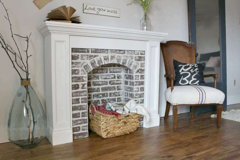 how to diy a faux brick fireplace and youll never believe how easy it - Brick Fireplace