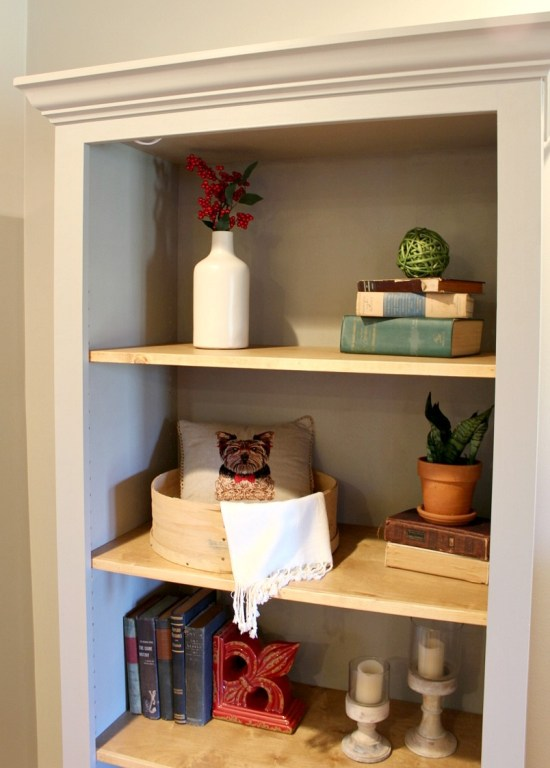 DIY Bookshelf with adjustable shelves --grey painted cabinet, wood stained shelves