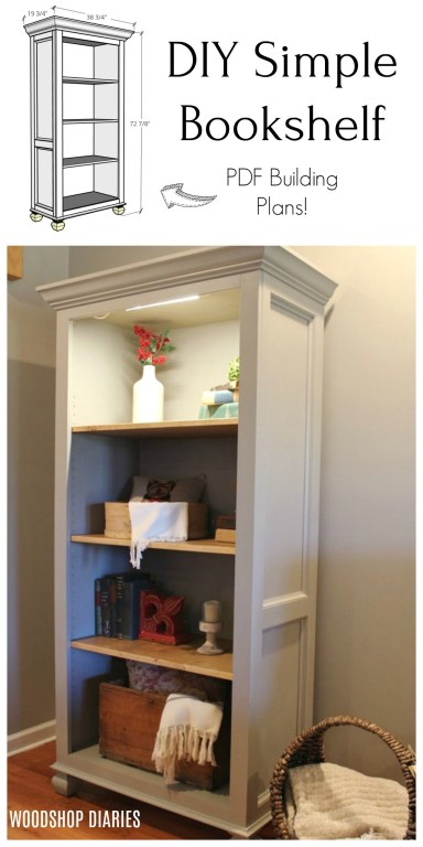 DIY Simple Freestanding Tall Bookshelf Pinterest collage