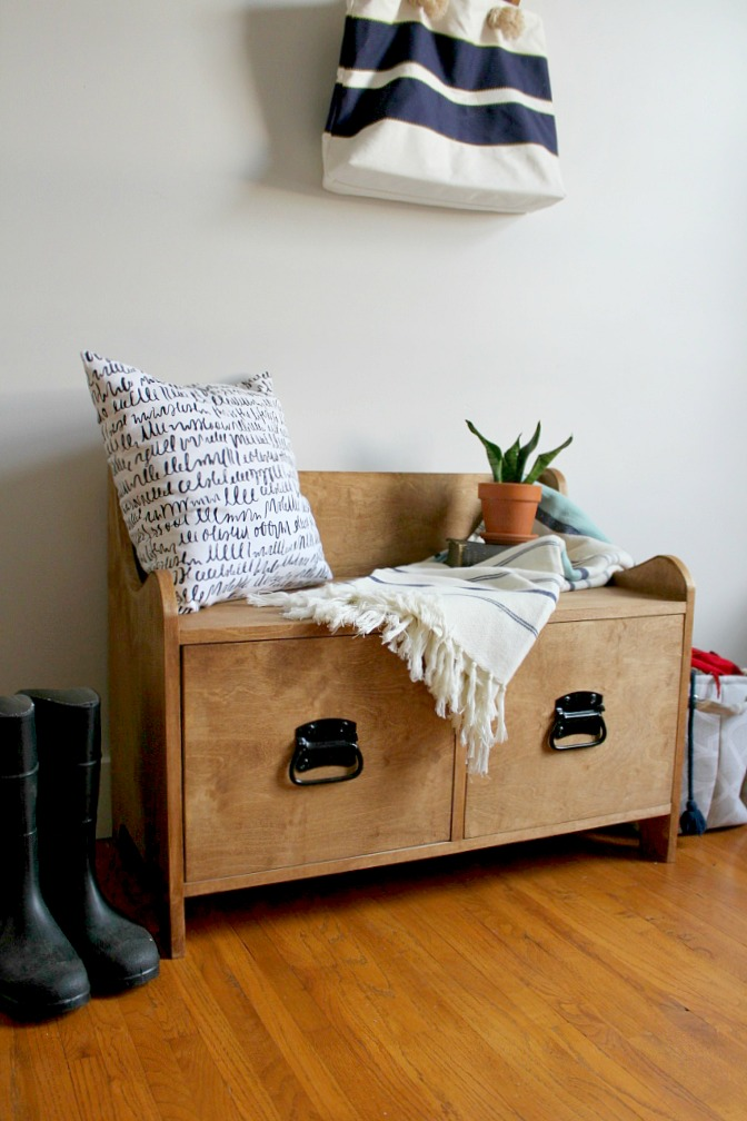 Pottery Barn Inspired DIY Entryway Storage Bench--#PlywoodPretty Challenge