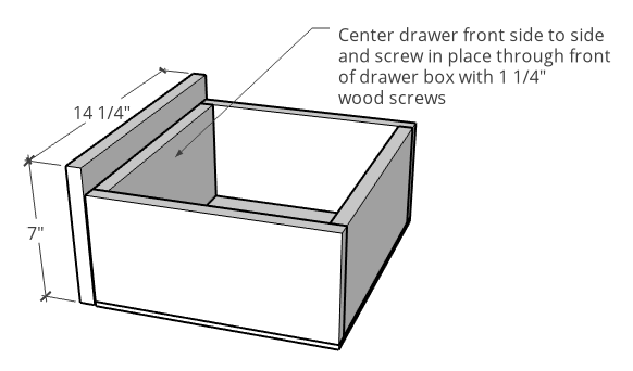 Attaching drawer front onto drawer for linen shelf diagram
