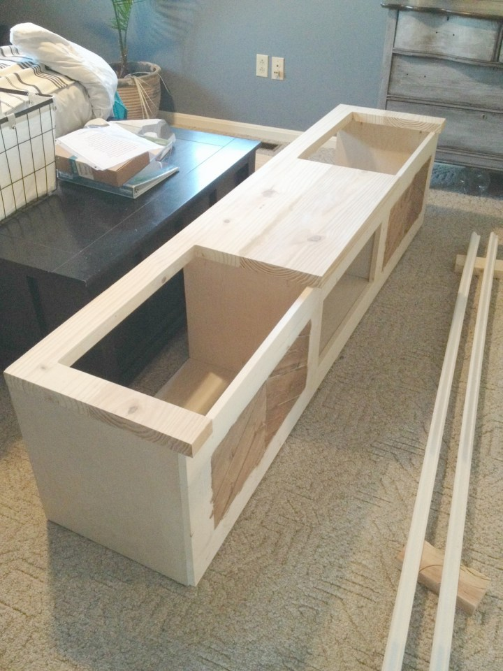 Mudroom shoe bench top with sides cut for flip tops