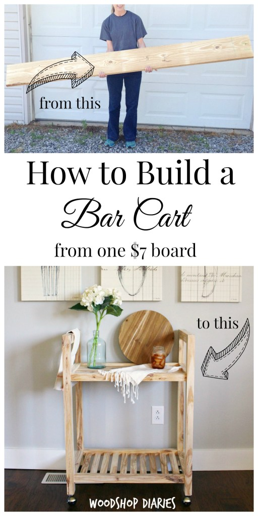 DIY Single Board Bar Cart Collage