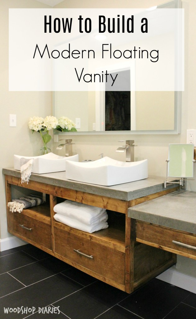 Free building plans to create your own Modern DIY Floating bathroom vanity that could double as a floating tv console!