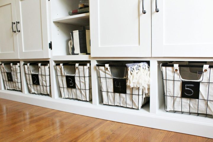 DIY storage cabinet with cubbies at bottom