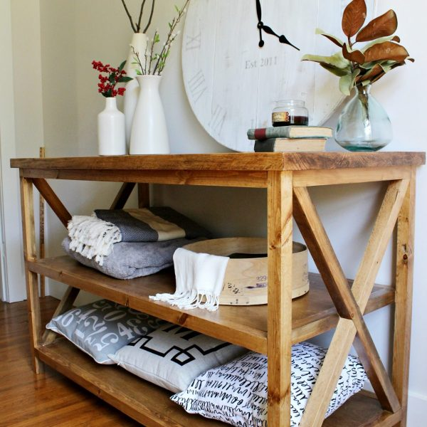 How to build a DIY X base console table with middle shelf for added storage--free building plans!