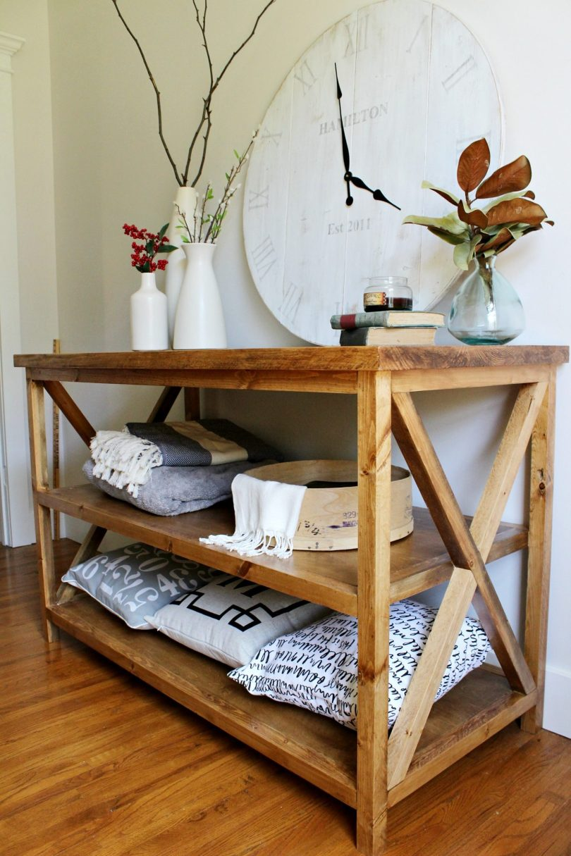 sofa table plans. How To Build A DIY X Base Console Table With Middle Shelf For Added Storage- Sofa Plans E
