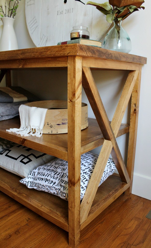 DIY X Base Console table with open shelf--free building plans and tutorial